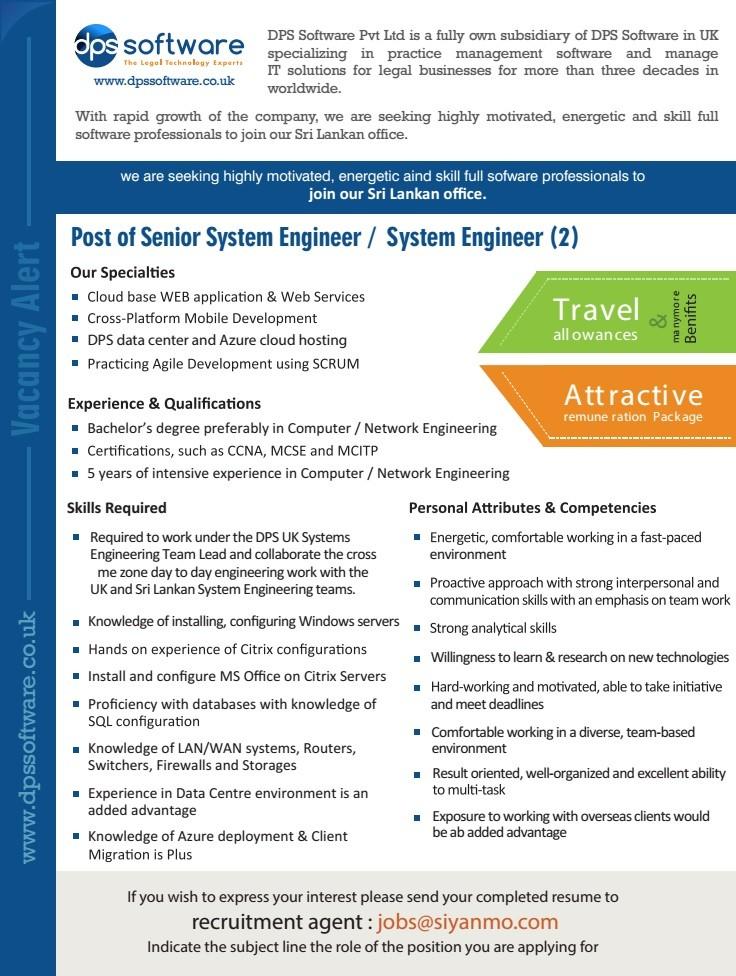 Senior System Engineer System Engineer Job Vacancy In Sri Lanka