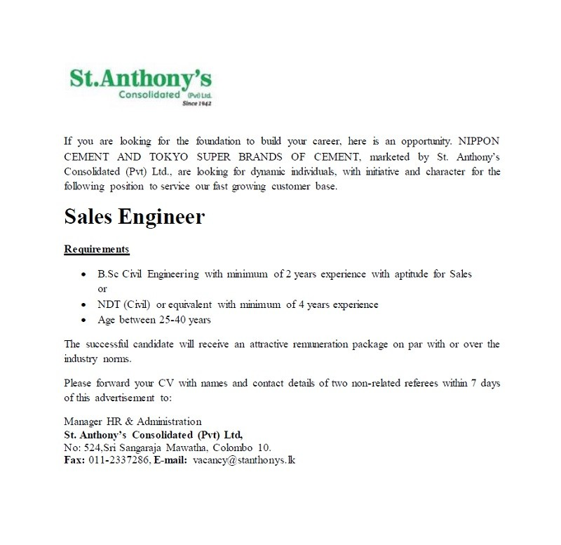 Sales Engineer Job Vacancy In Sri Lanka