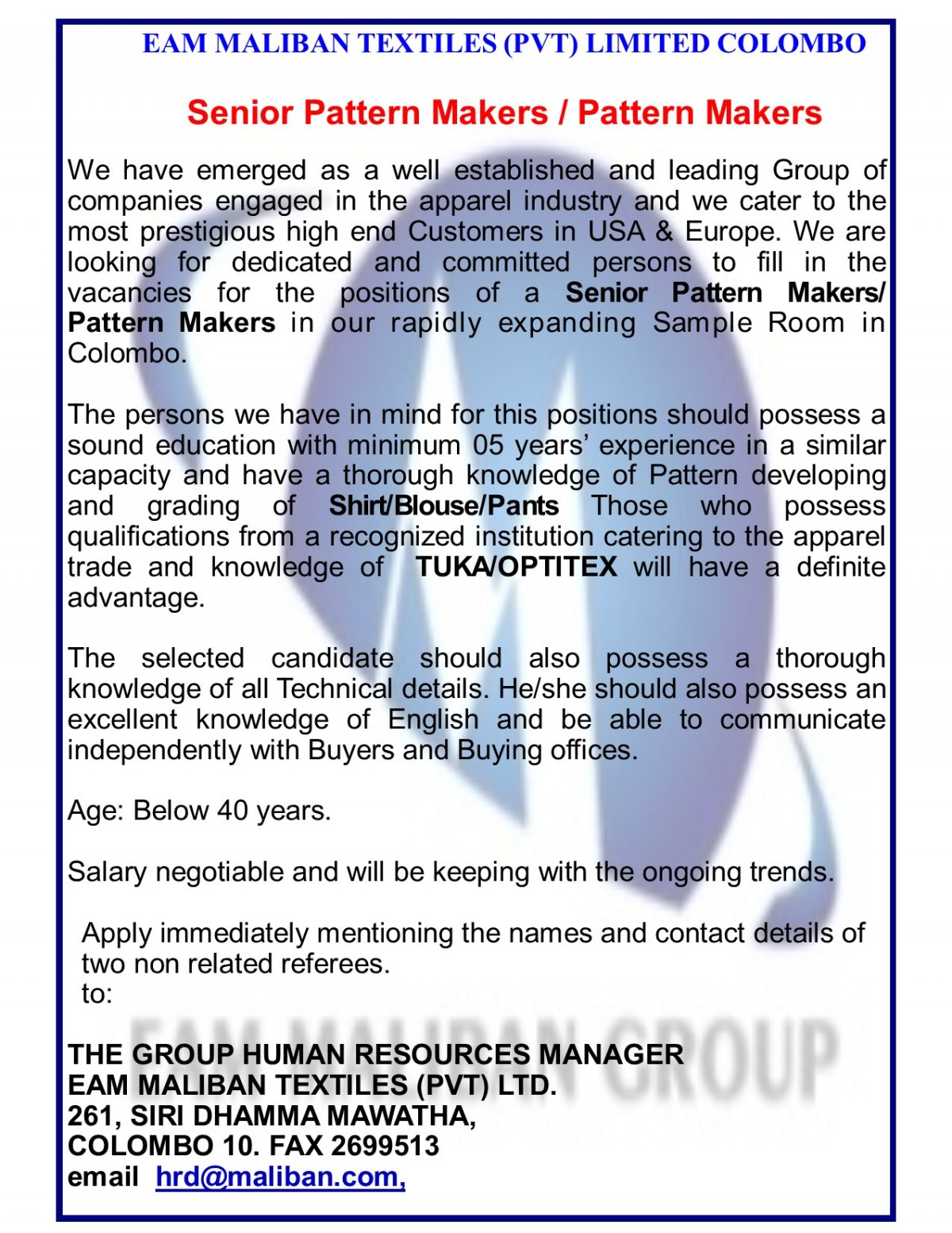 Senior Pattern Makers / Pattern Makers - Head Office