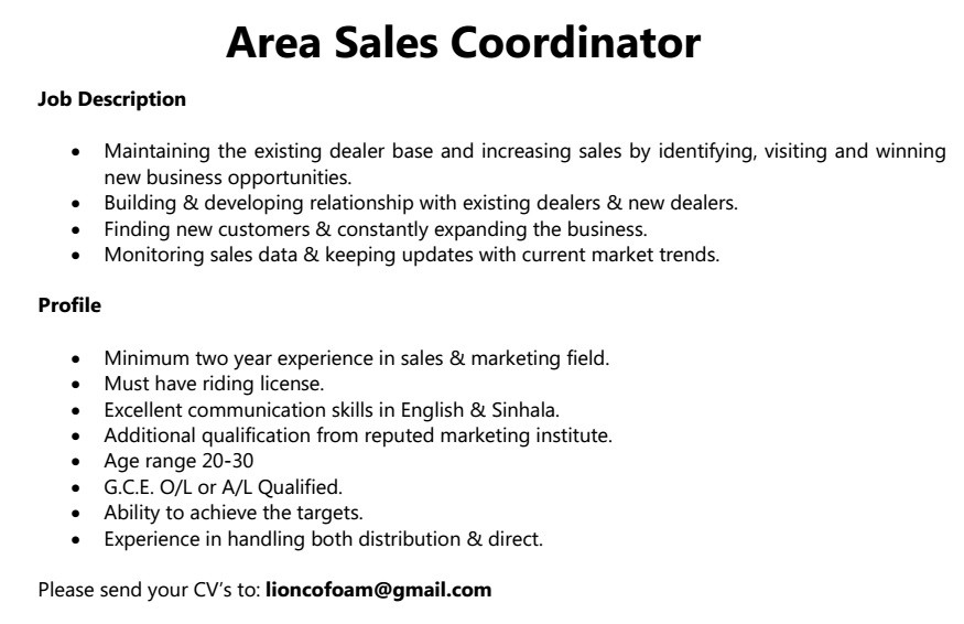Area Sales Coordinator Job Vacancy In Sri Lanka