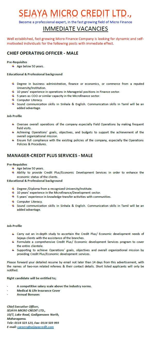 Chief operating officer male job vacancy in sri lanka - Chief operating officer jobs ...