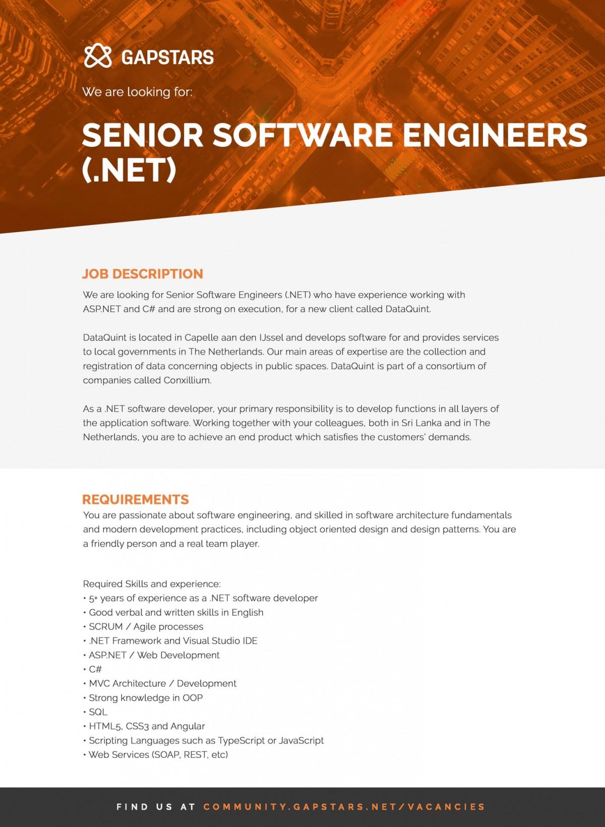 Senior Software Engineers (.Net) Job Vacancy in Sri Lanka