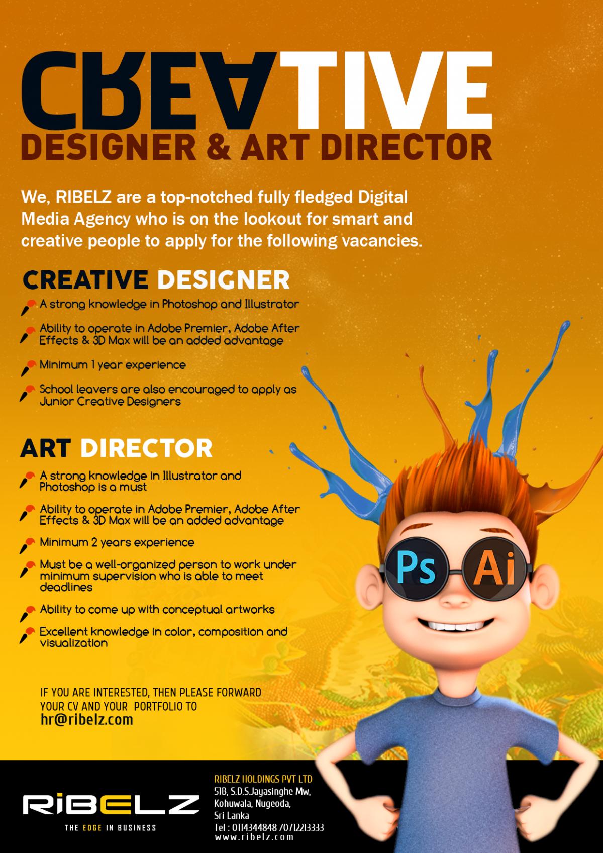 graphic designer art director job vacancy in sri lanka