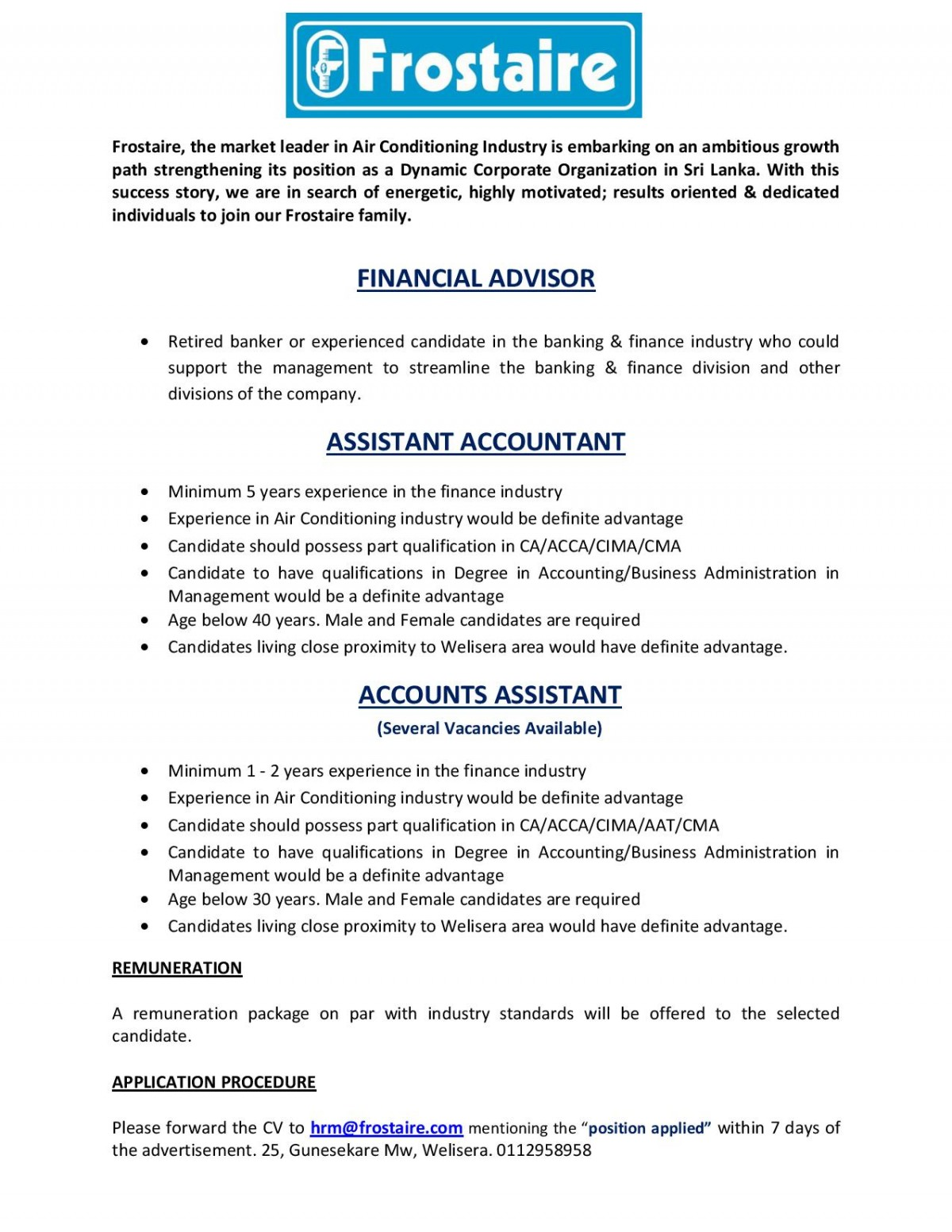 accounts assistants job vacancy in sri lanka