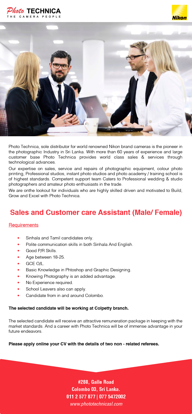 Sales and Customer Care Assistance (Male / Female) 2019