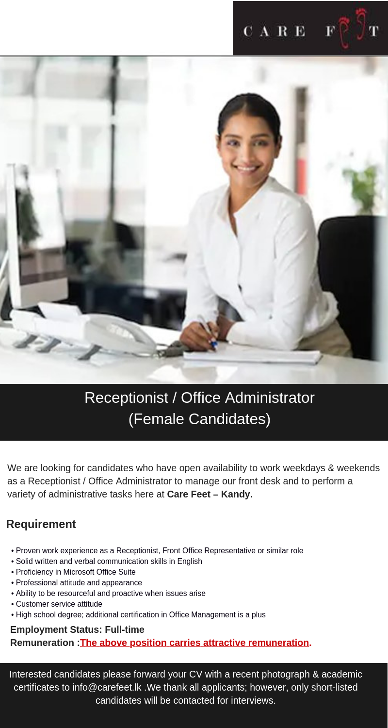 Receptionist Office Administrator Females Only 2019