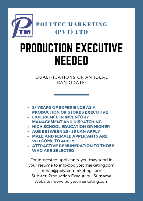 Production & Stores Executive 2019